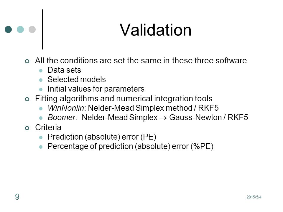 2015/5/4 9 Validation All the conditions are set the same in these three software Data sets Selected models Initial values for parameters Fitting algo