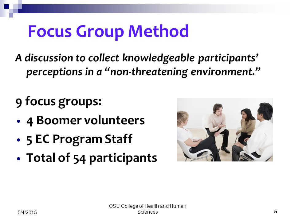 OSU College of Health and Human Sciences 5 5/4/2015 Focus Group Method A discussion to collect knowledgeable participants' perceptions in a non-threatening environment. 9 focus groups: 4 Boomer volunteers 5 EC Program Staff Total of 54 participants
