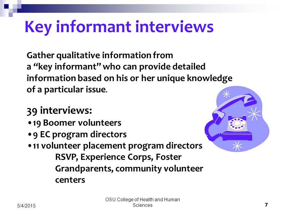 OSU College of Health and Human Sciences 7 5/4/2015 Key informant interviews Gather qualitative information from a key informant who can provide detailed information based on his or her unique knowledge of a particular issue.
