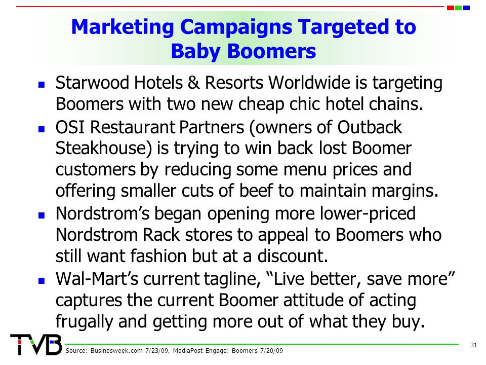 Marketing Campaigns Targeted to Baby Boomers Starwood Hotels & Resorts Worldwide is targeting Boomers with two new cheap chic hotel chains.