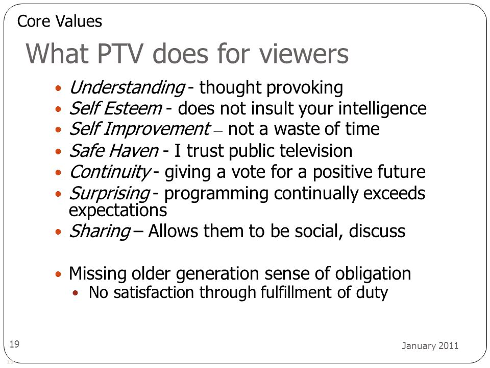 19 January 2011 19 What PTV does for viewers Understanding - thought provoking Self Esteem - does not insult your intelligence Self Improvement – not