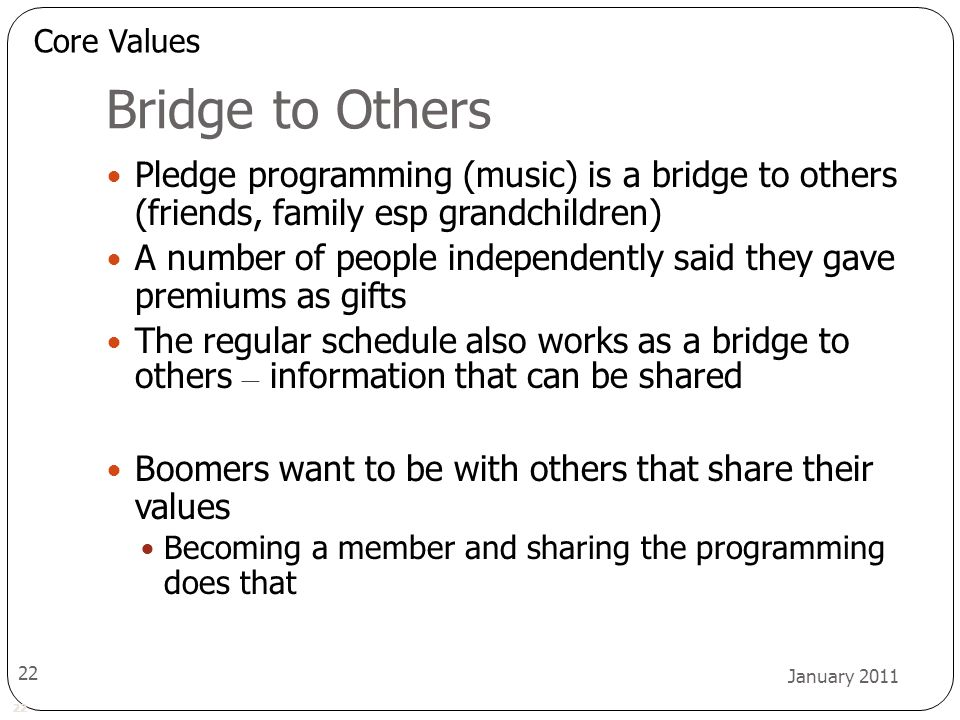 22 January 2011 22 Bridge to Others Pledge programming (music) is a bridge to others (friends, family esp grandchildren) A number of people independen