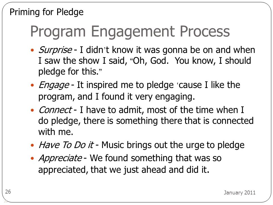 26 January 2011 26 Program Engagement Process Surprise - I didn ' t know it was gonna be on and when I saw the show I said, Oh, God.
