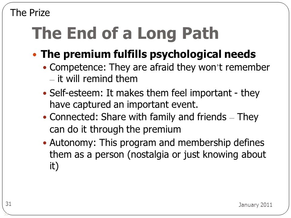 31 January 2011 31 The End of a Long Path The premium fulfills psychological needs Competence: They are afraid they won ' t remember – it will remind