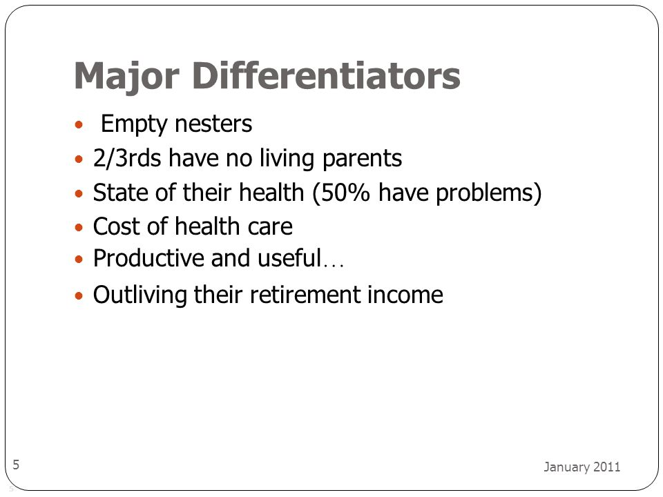 5 January 2011 5 Major Differentiators Empty nesters 2/3rds have no living parents State of their health (50% have problems) Cost of health care Productive and useful … Outliving their retirement income