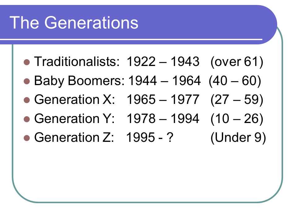 The Generations Traditionalists: 1922 – 1943 (over 61) Baby Boomers: 1944 – 1964 (40 – 60) Generation X: 1965 – 1977 (27 – 59) Generation Y: 1978 – 19