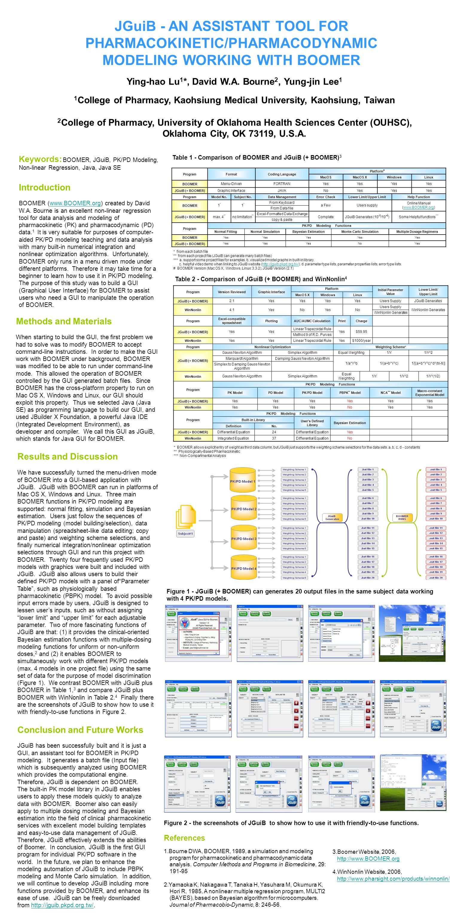 JGuiB - AN ASSISTANT TOOL FOR PHARMACOKINETIC/PHARMACODYNAMIC MODELING WORKING WITH BOOMER Ying-hao Lu 1 *, David W.A. Bourne 2, Yung-jin Lee 1 1 Coll