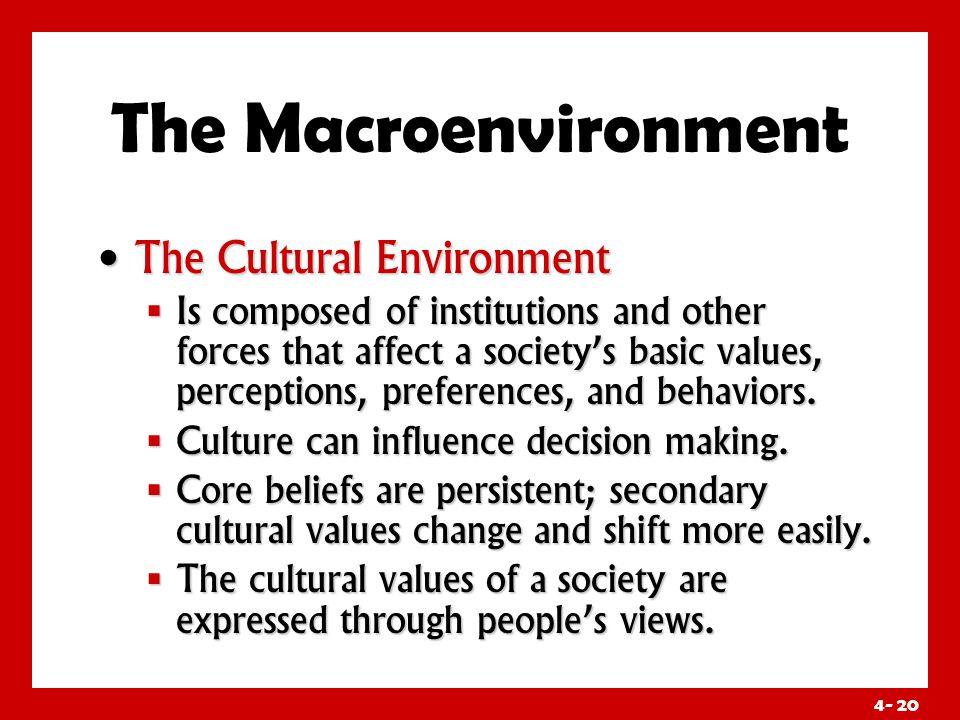 4- 20 The Macroenvironment The Cultural Environment The Cultural Environment  Is composed of institutions and other forces that affect a society's basic values, perceptions, preferences, and behaviors.