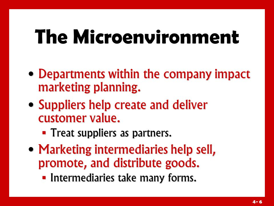 4- 6 The Microenvironment Departments within the company impact marketing planning.