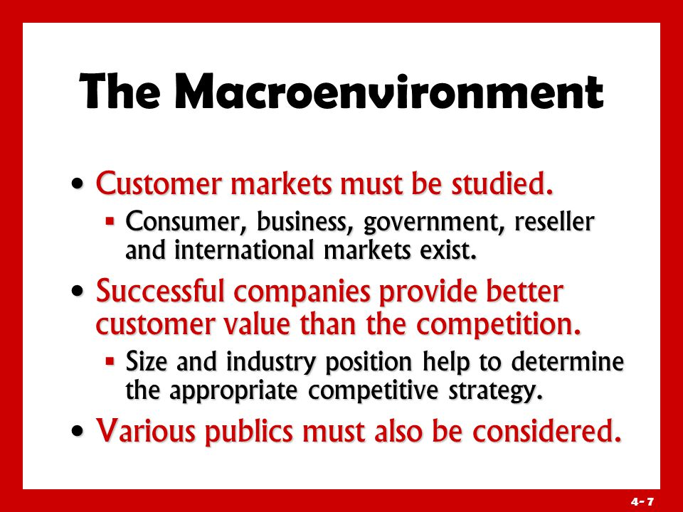 4- 7 The Macroenvironment Customer markets must be studied.