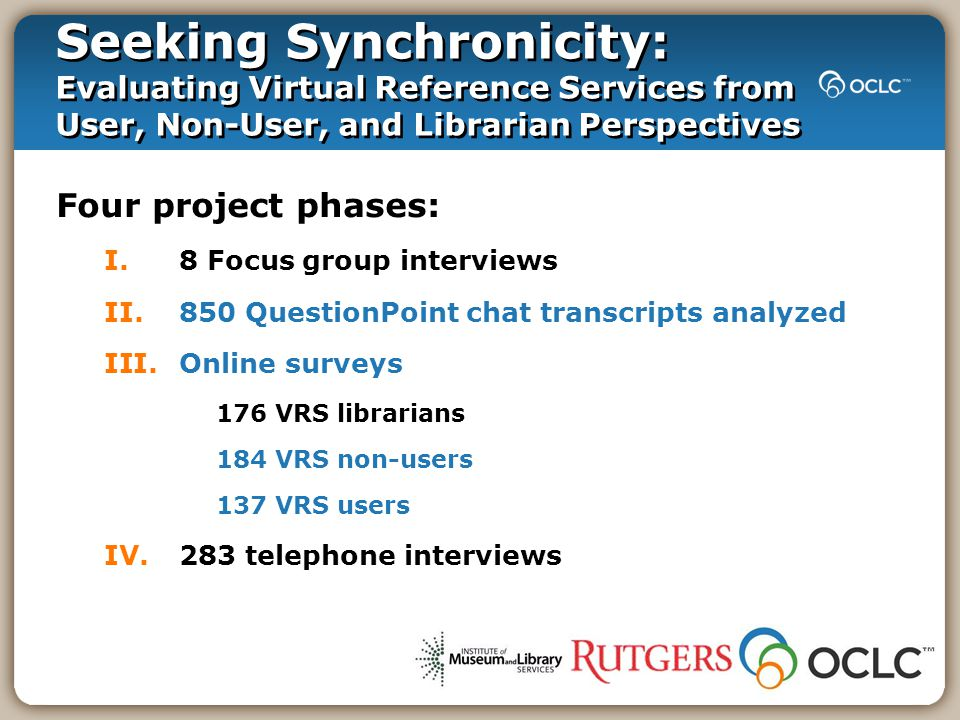Four project phases: I.8 Focus group interviews II.850 QuestionPoint chat transcripts analyzed III.Online surveys 176 VRS librarians 184 VRS non-users 137 VRS users IV.283 telephone interviews Seeking Synchronicity: Evaluating Virtual Reference Services from User, Non-User, and Librarian Perspectives