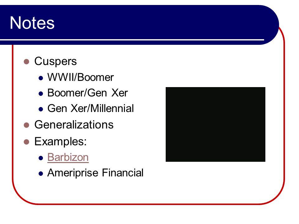 Notes Cuspers WWII/Boomer Boomer/Gen Xer Gen Xer/Millennial Generalizations Examples: Barbizon Ameriprise Financial