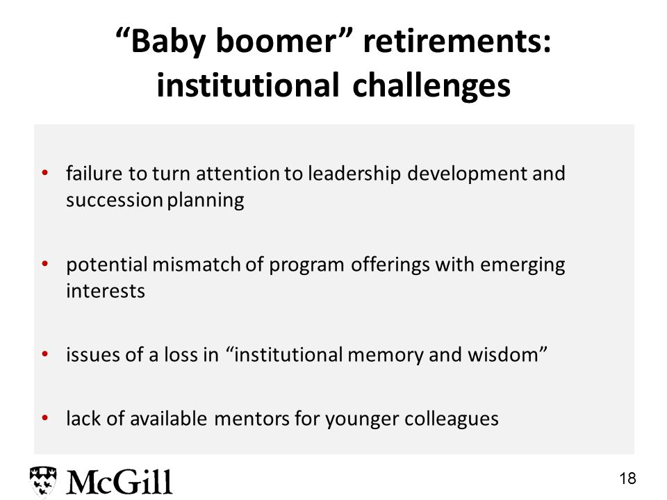 18 Baby boomer retirements: institutional challenges failure to turn attention to leadership development and succession planning potential mismatch of program offerings with emerging interests issues of a loss in institutional memory and wisdom lack of available mentors for younger colleagues