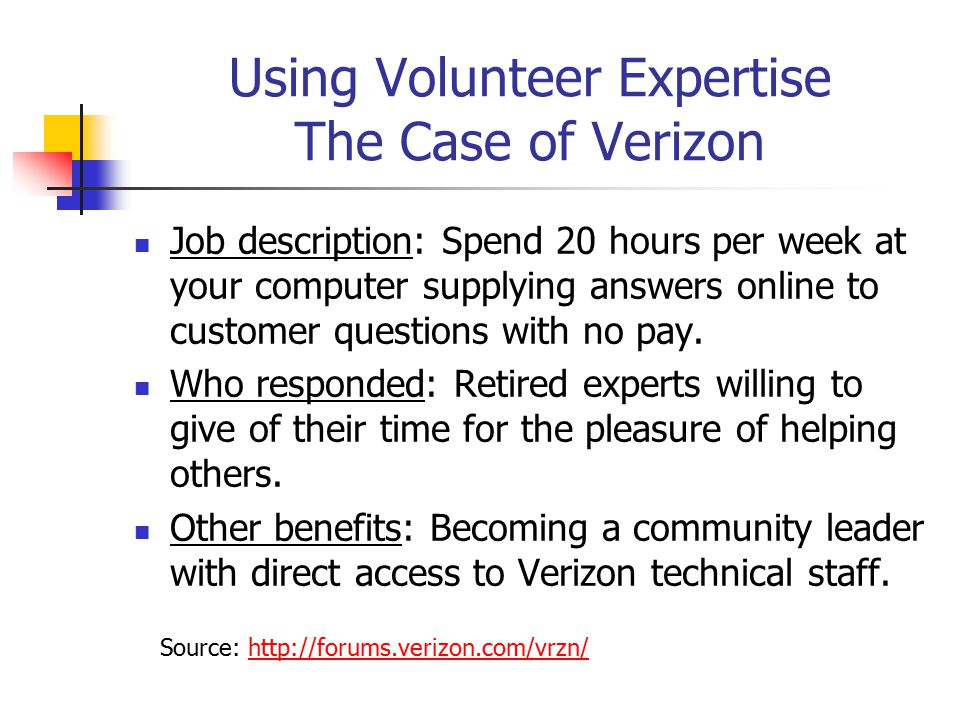 Using Volunteer Expertise The Case of Verizon Job description: Spend 20 hours per week at your computer supplying answers online to customer questions with no pay.