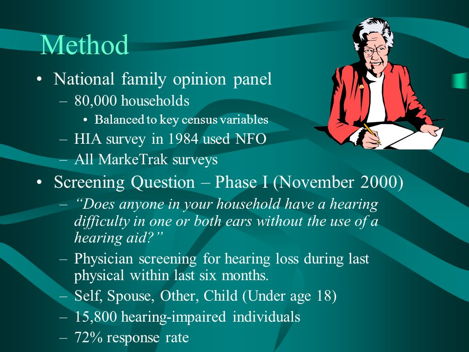Method National family opinion panel –80,000 households Balanced to key census variables –HIA survey in 1984 used NFO –All MarkeTrak surveys Screening