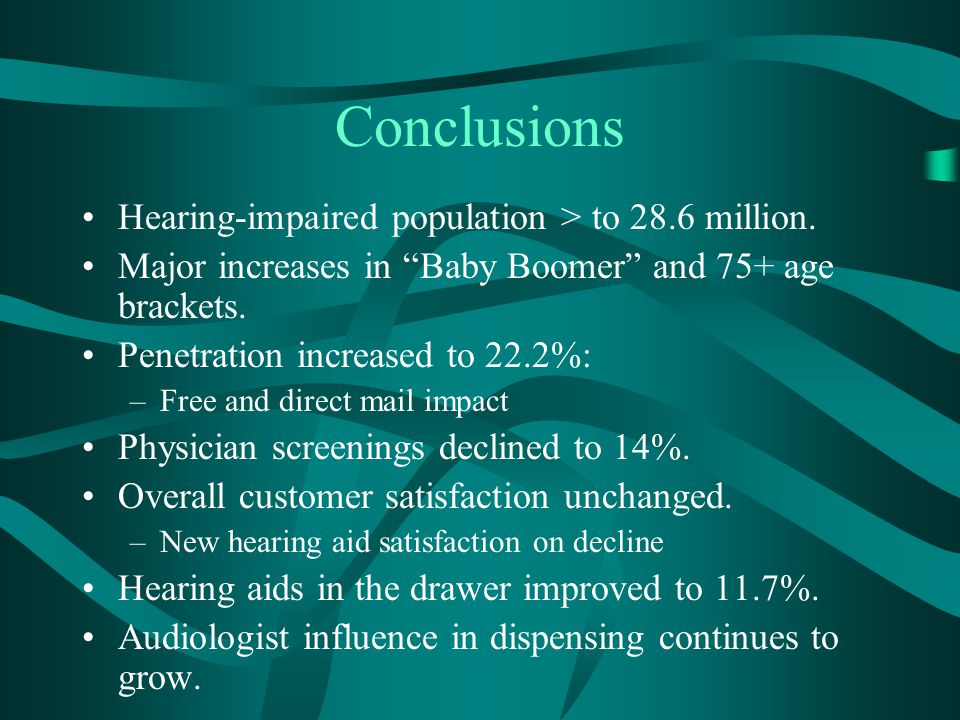 "Conclusions Hearing-impaired population > to 28.6 million. Major increases in ""Baby Boomer"" and 75+ age brackets. Penetration increased to 22.2%: –Fre"
