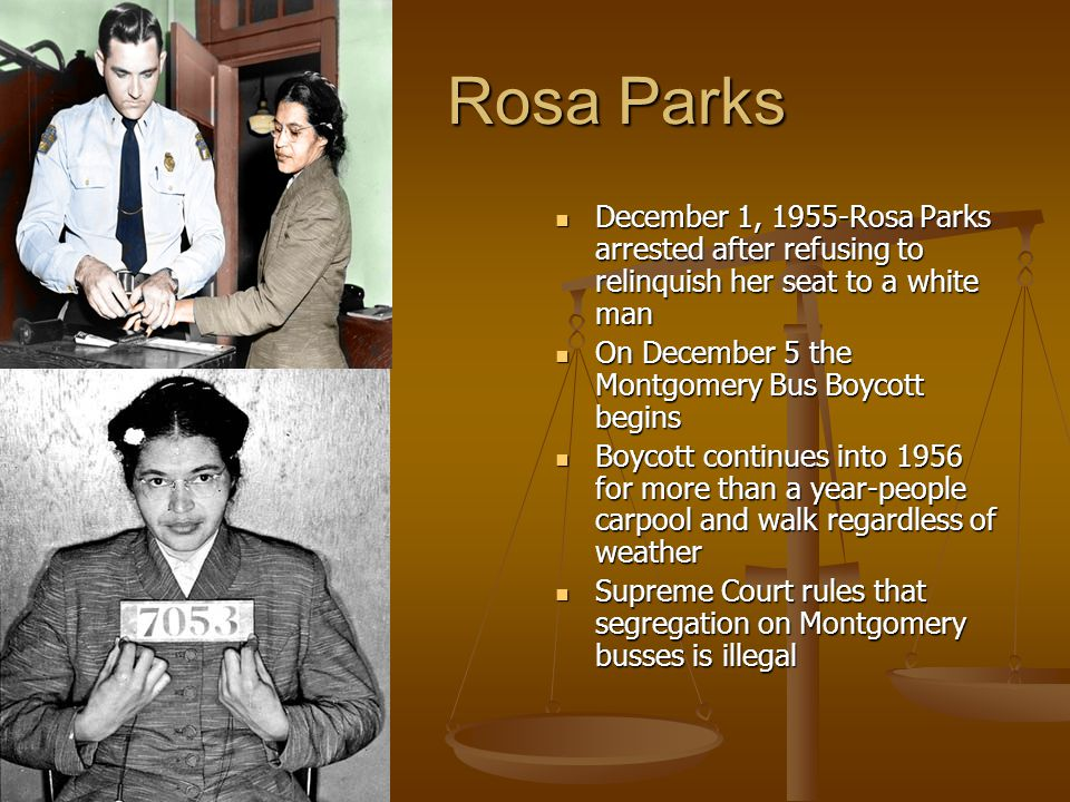 Rosa Parks Rosa Parks December 1, 1955-Rosa Parks arrested after refusing to relinquish her seat to a white man December 1, 1955-Rosa Parks arrested a