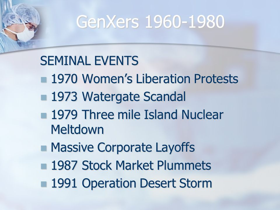 SEMINAL EVENTS 1970 Women's Liberation Protests 1970 Women's Liberation Protests 1973 Watergate Scandal 1973 Watergate Scandal 1979 Three mile Island Nuclear Meltdown 1979 Three mile Island Nuclear Meltdown Massive Corporate Layoffs Massive Corporate Layoffs 1987 Stock Market Plummets 1987 Stock Market Plummets 1991 Operation Desert Storm 1991 Operation Desert Storm GenXers 1960-1980