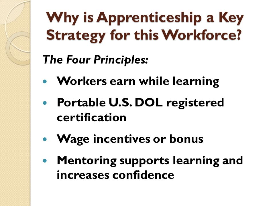 Why is Apprenticeship a Key Strategy for this Workforce? The Four Principles: Workers earn while learning Portable U.S. DOL registered certification W