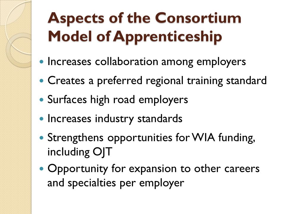 Aspects of the Consortium Model of Apprenticeship Increases collaboration among employers Creates a preferred regional training standard Surfaces high