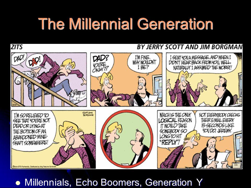 The Millennial Generation Millennials, Echo Boomers, Generation Y Millennials, Echo Boomers, Generation Y