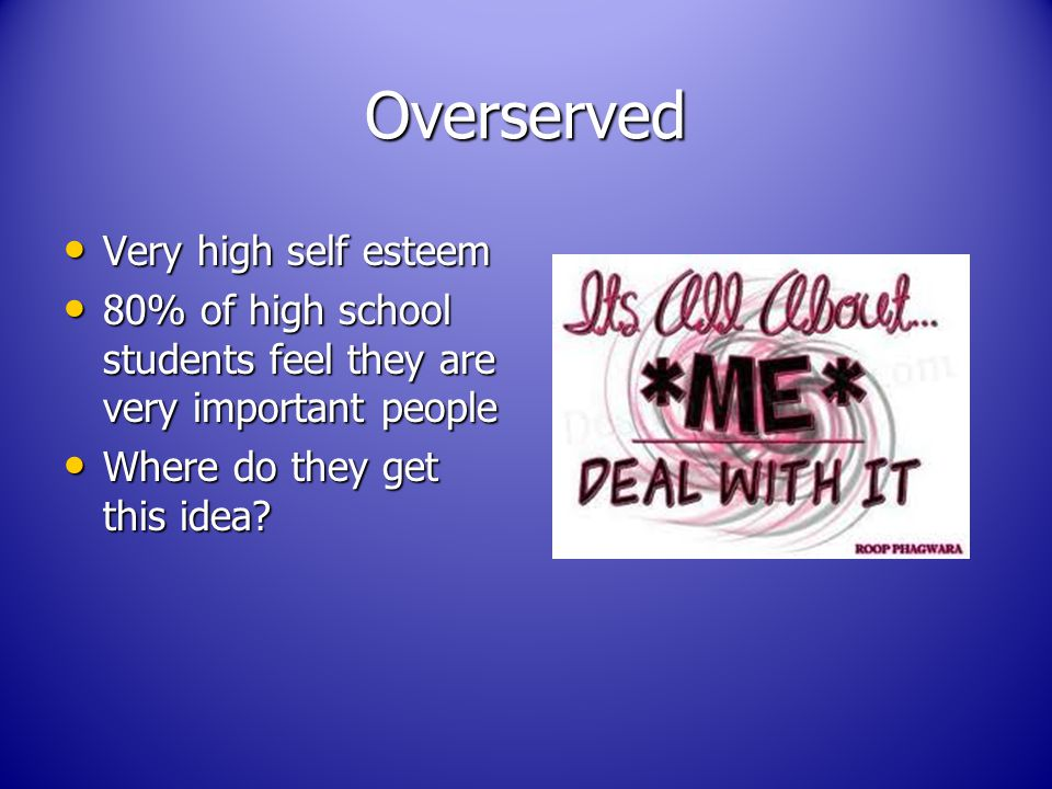 Overserved Very high self esteem Very high self esteem 80% of high school students feel they are very important people 80% of high school students feel they are very important people Where do they get this idea.