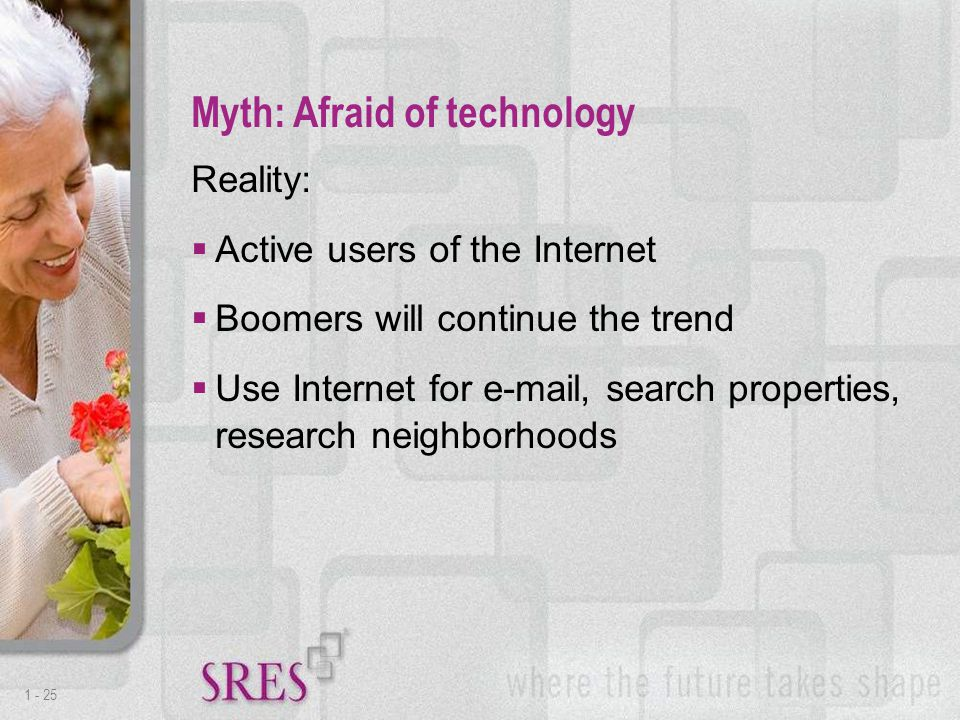1 -25 Reality:  Active users of the Internet  Boomers will continue the trend  Use Internet for e-mail, search properties, research neighborhoods Myth: Afraid of technology