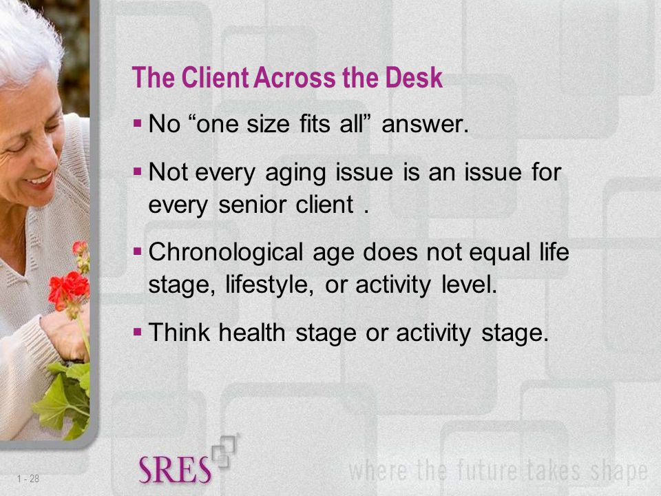 1 -28  No one size fits all answer.  Not every aging issue is an issue for every senior client.