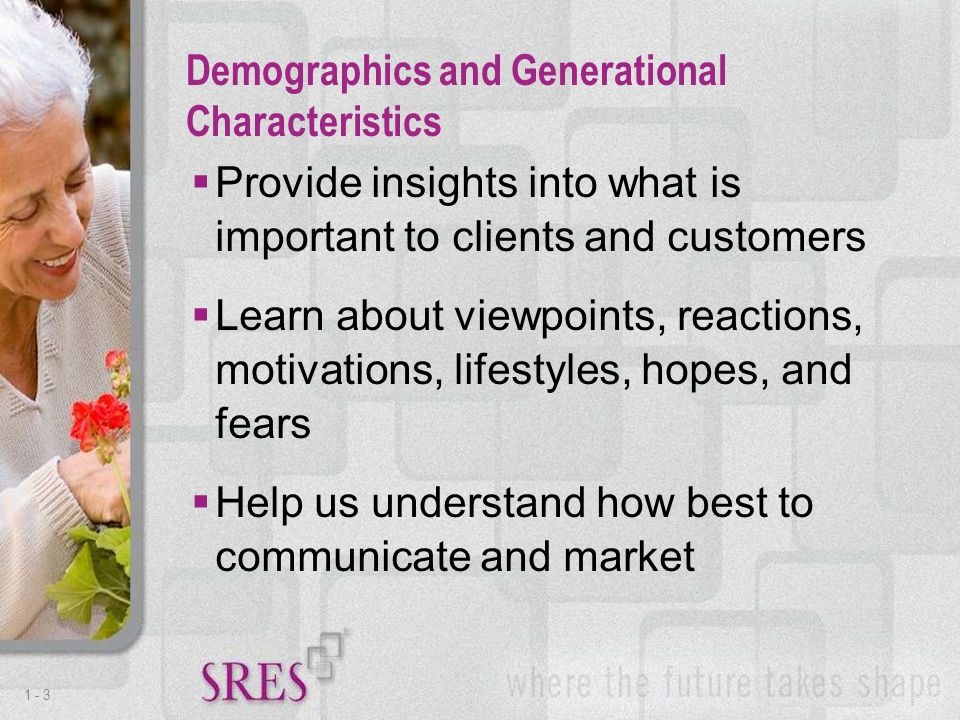 1 -3  Provide insights into what is important to clients and customers  Learn about viewpoints, reactions, motivations, lifestyles, hopes, and fears  Help us understand how best to communicate and market Demographics and Generational Characteristics