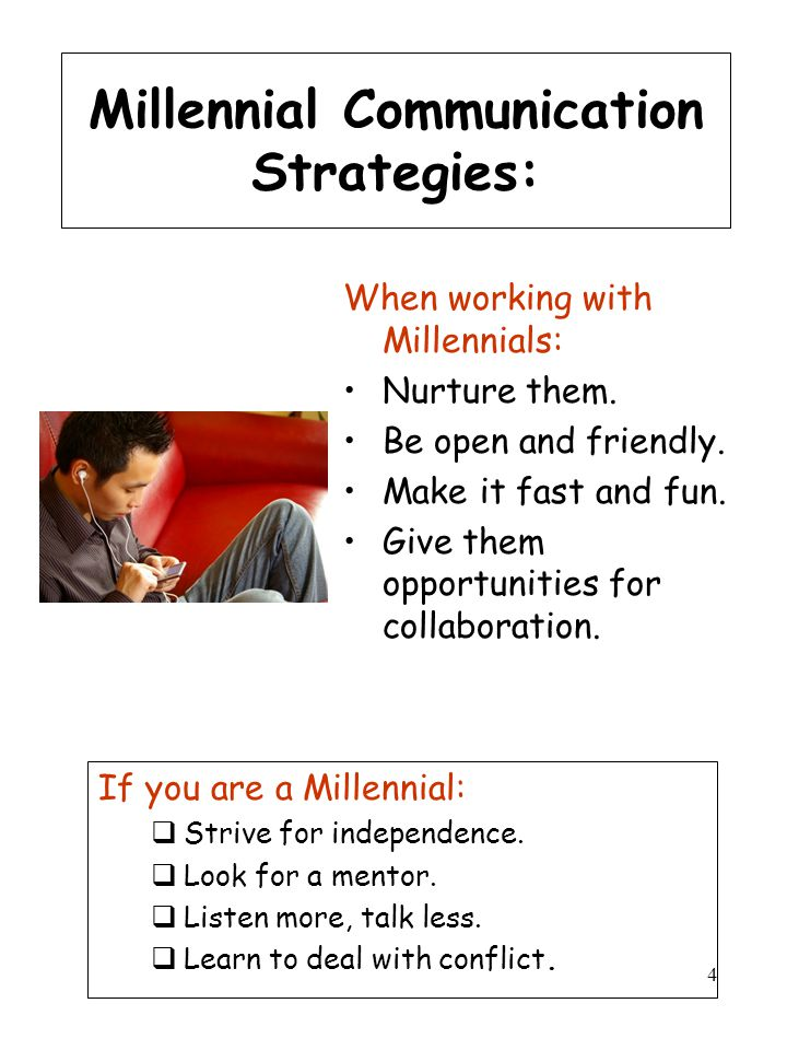 4 Millennial Communication Strategies: When working with Millennials: Nurture them. Be open and friendly. Make it fast and fun. Give them opportunitie
