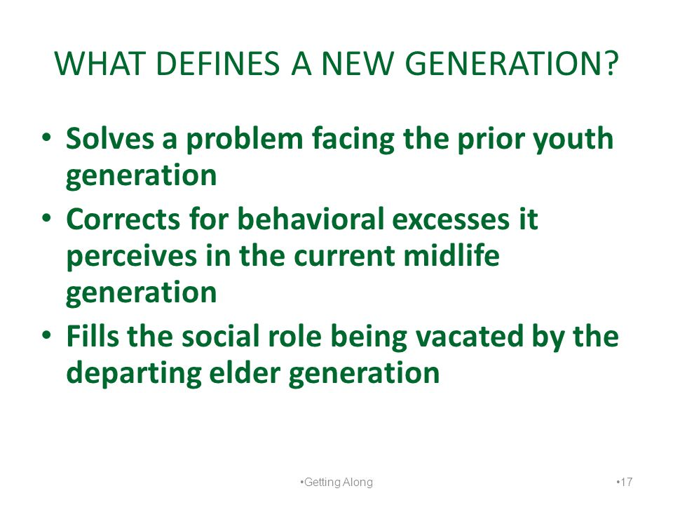 WHAT DEFINES A NEW GENERATION? Solves a problem facing the prior youth generation Corrects for behavioral excesses it perceives in the current midlife