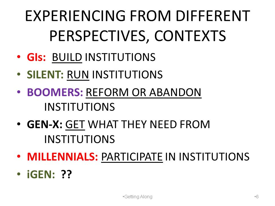 EXPERIENCING FROM DIFFERENT PERSPECTIVES, CONTEXTS GIs: BUILD INSTITUTIONS SILENT: RUN INSTITUTIONS BOOMERS: REFORM OR ABANDON INSTITUTIONS GEN-X: GET