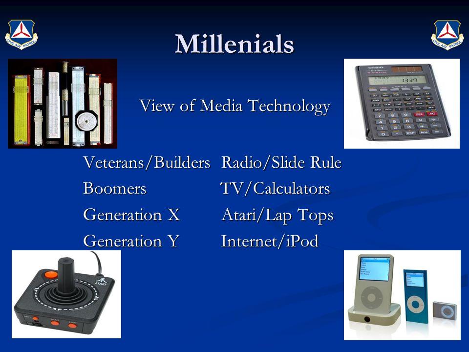 Millenials View of Media Technology Veterans/Builders Radio/Slide Rule Veterans/Builders Radio/Slide Rule Boomers TV/Calculators Boomers TV/Calculator