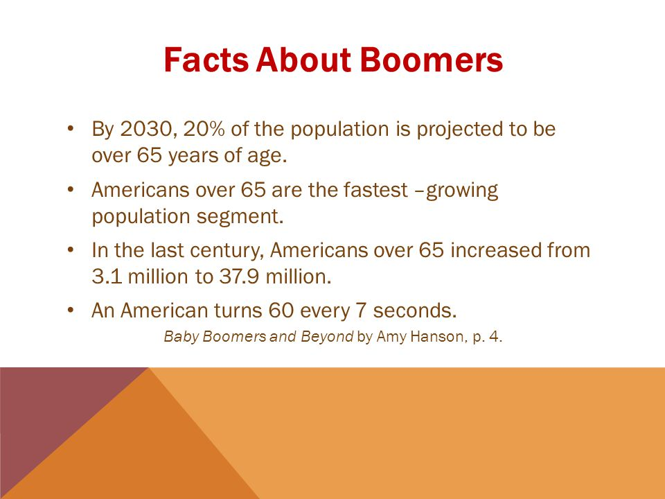 Facts About Boomers By 2030, 20% of the population is projected to be over 65 years of age.