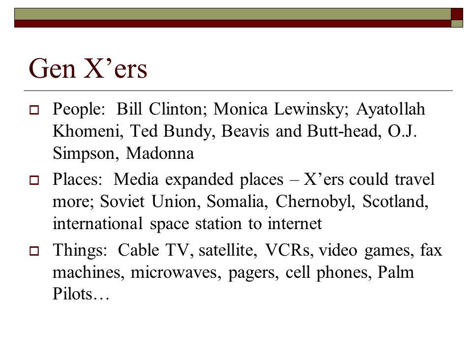 Gen X'ers  People: Bill Clinton; Monica Lewinsky; Ayatollah Khomeni, Ted Bundy, Beavis and Butt-head, O.J. Simpson, Madonna  Places: Media expanded