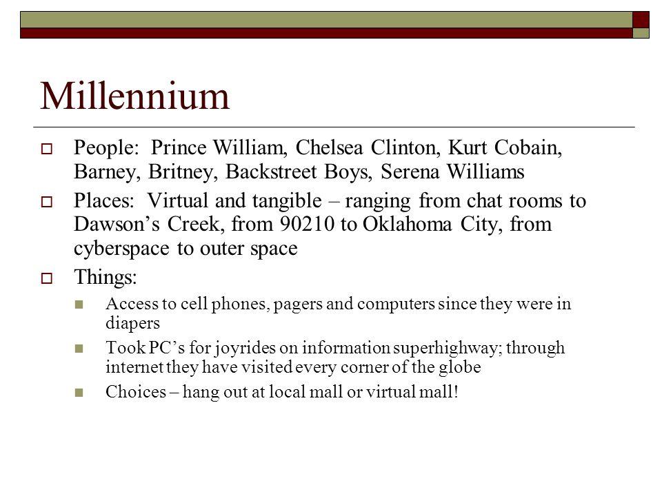 Millennium  People: Prince William, Chelsea Clinton, Kurt Cobain, Barney, Britney, Backstreet Boys, Serena Williams  Places: Virtual and tangible –