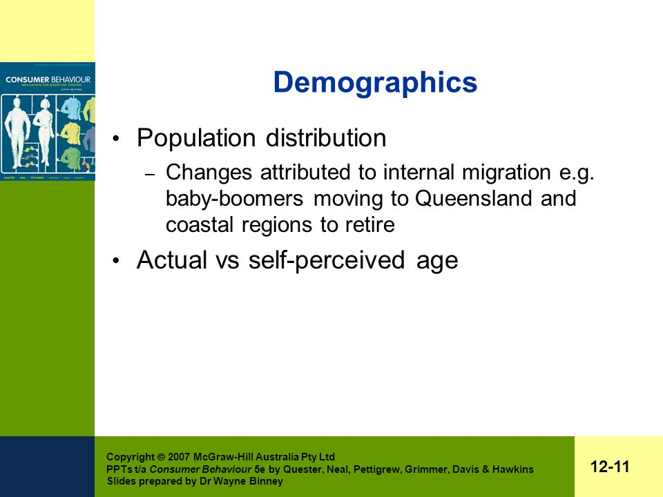 Copyright  2007 McGraw-Hill Australia Pty Ltd PPTs t/a Consumer Behaviour 5e by Quester, Neal, Pettigrew, Grimmer, Davis & Hawkins Slides prepared by Dr Wayne Binney 12-11 Demographics Population distribution – Changes attributed to internal migration e.g.