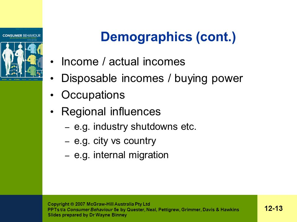Copyright  2007 McGraw-Hill Australia Pty Ltd PPTs t/a Consumer Behaviour 5e by Quester, Neal, Pettigrew, Grimmer, Davis & Hawkins Slides prepared by Dr Wayne Binney 12-13 Demographics (cont.) Income / actual incomes Disposable incomes / buying power Occupations Regional influences – e.g.