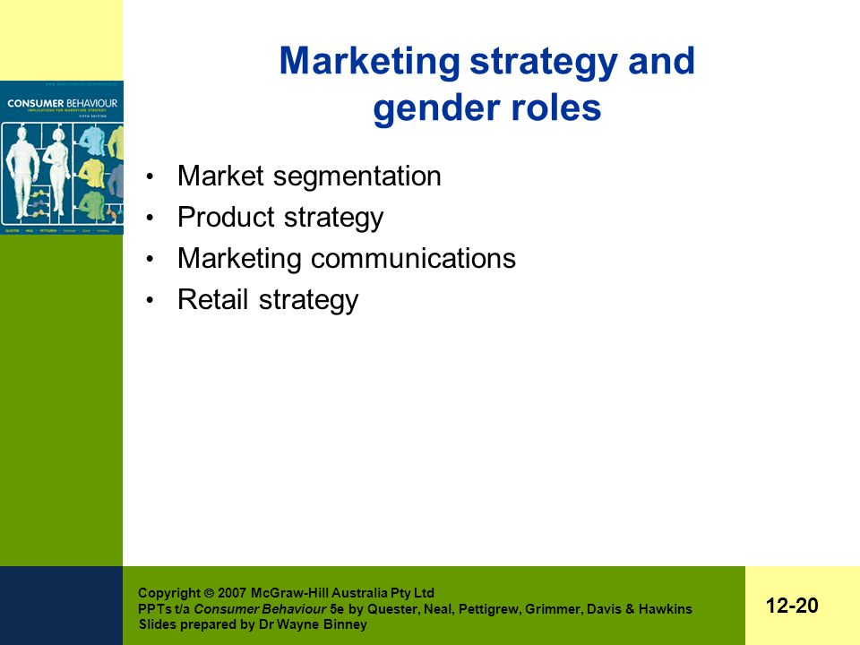 Copyright  2007 McGraw-Hill Australia Pty Ltd PPTs t/a Consumer Behaviour 5e by Quester, Neal, Pettigrew, Grimmer, Davis & Hawkins Slides prepared by Dr Wayne Binney 12-20 Marketing strategy and gender roles Market segmentation Product strategy Marketing communications Retail strategy