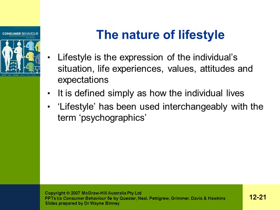 Copyright  2007 McGraw-Hill Australia Pty Ltd PPTs t/a Consumer Behaviour 5e by Quester, Neal, Pettigrew, Grimmer, Davis & Hawkins Slides prepared by Dr Wayne Binney 12-21 The nature of lifestyle Lifestyle is the expression of the individual's situation, life experiences, values, attitudes and expectations It is defined simply as how the individual lives 'Lifestyle' has been used interchangeably with the term 'psychographics'
