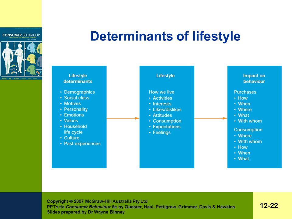 Copyright  2007 McGraw-Hill Australia Pty Ltd PPTs t/a Consumer Behaviour 5e by Quester, Neal, Pettigrew, Grimmer, Davis & Hawkins Slides prepared by Dr Wayne Binney 12-22 Determinants of lifestyle