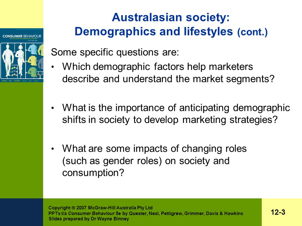 Copyright  2007 McGraw-Hill Australia Pty Ltd PPTs t/a Consumer Behaviour 5e by Quester, Neal, Pettigrew, Grimmer, Davis & Hawkins Slides prepared by Dr Wayne Binney 12-3 Australasian society: Demographics and lifestyles (cont.) Some specific questions are: Which demographic factors help marketers describe and understand the market segments.
