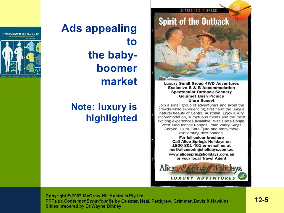 Copyright  2007 McGraw-Hill Australia Pty Ltd PPTs t/a Consumer Behaviour 5e by Quester, Neal, Pettigrew, Grimmer, Davis & Hawkins Slides prepared by Dr Wayne Binney 12-5 Ads appealing to the baby- boomer market Note: luxury is highlighted