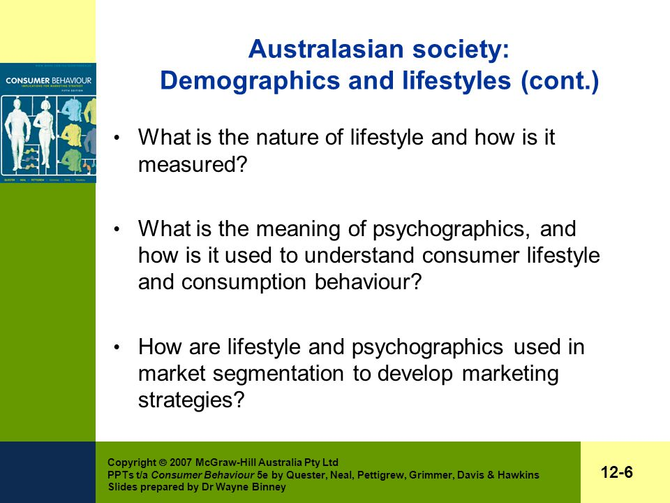 Copyright  2007 McGraw-Hill Australia Pty Ltd PPTs t/a Consumer Behaviour 5e by Quester, Neal, Pettigrew, Grimmer, Davis & Hawkins Slides prepared by Dr Wayne Binney 12-6 Australasian society: Demographics and lifestyles (cont.) What is the nature of lifestyle and how is it measured.