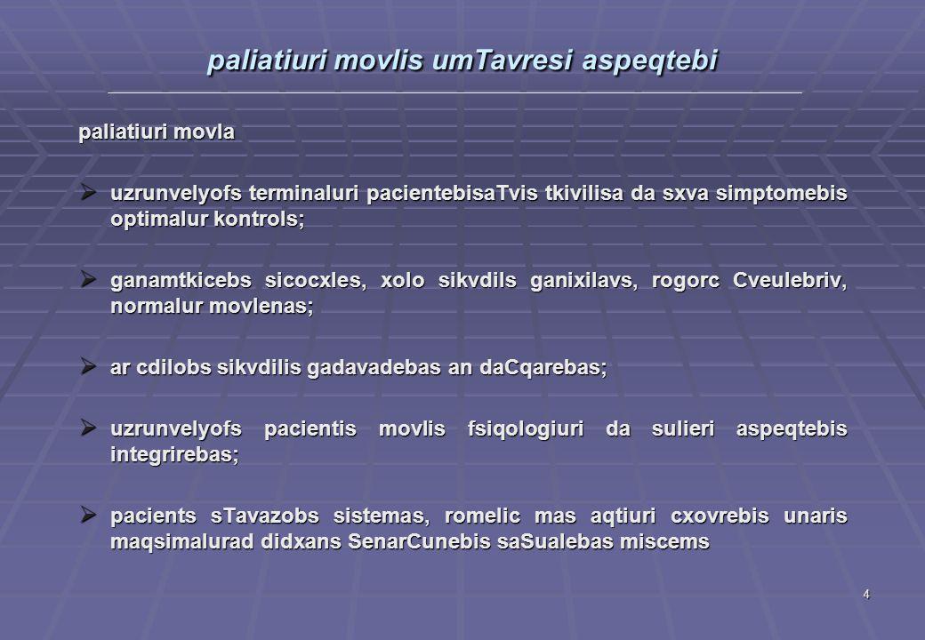 4 paliatiuri movlis umTavresi aspeqtebi paliatiuri movla  uzrunvelyofs terminaluri pacientebisaTvis tkivilisa da sxva simptomebis optimalur kontrols;  ganamtkicebs sicocxles, xolo sikvdils ganixilavs, rogorc Cveulebriv, normalur movlenas;  ar cdilobs sikvdilis gadavadebas an daCqarebas;  uzrunvelyofs pacientis movlis fsiqologiuri da sulieri aspeqtebis integrirebas;  pacients sTavazobs sistemas, romelic mas aqtiuri cxovrebis unaris maqsimalurad didxans SenarCunebis saSualebas miscems