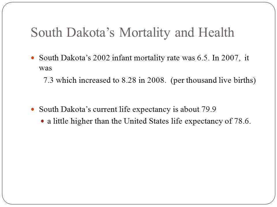 South Dakota's Mortality and Health South Dakota's 2002 infant mortality rate was 6.5.
