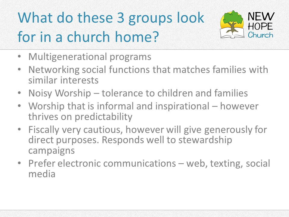 What do these 3 groups look for in a church home.