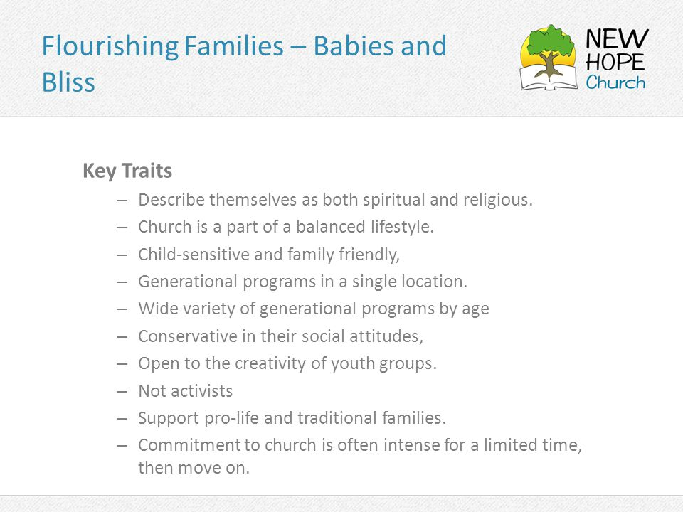 Flourishing Families – Babies and Bliss Key Traits – Describe themselves as both spiritual and religious.