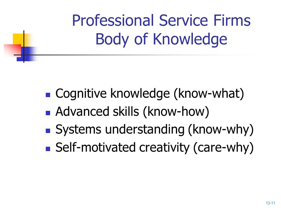 Professional Service Firms Body of Knowledge Cognitive knowledge (know-what) Advanced skills (know-how) Systems understanding (know-why) Self-motivate