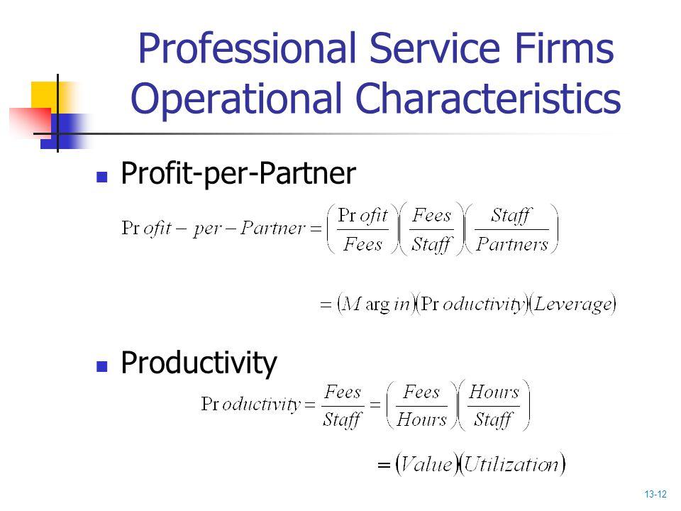 Professional Service Firms Operational Characteristics Profit-per-Partner Productivity 13-12